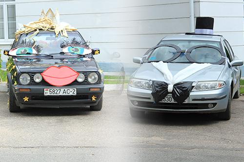 Жених и невеста. Возде ЗАГСА на День Независимости разместилась эта оригинальная парочка. Вопрос только один: как ехал водитель на чёрной машине? Или она действительно зрячая?